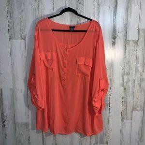 Torrid flowy coral 3/4 sleeve shirt